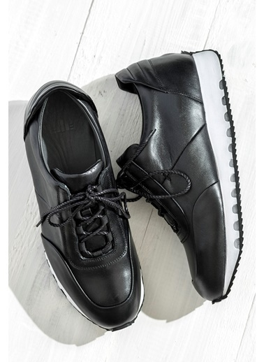 Elle %100 Deri Sneaker Ayakkabı Siyah